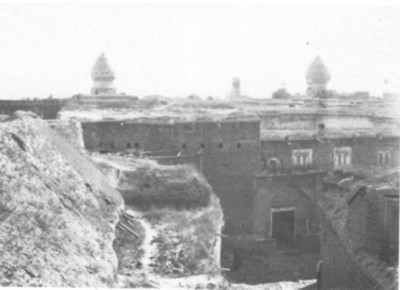 Shiraz over city roofs; on the left is the dome of the mausoleum of Sayed-Mir-Muhommad and on the right the dome of the Shah Cheraq mosque.